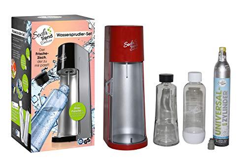 Soda Trend Wassersprudler Deluxe + Glasflasche + PET Flasche + CO2 Zylinder schwarz (Rot)