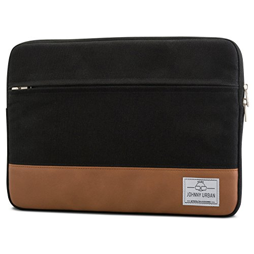 "Laptophülle 13 - 13.3 Zoll Schwarz-Braun - Johnny Urban Canvas Laptop Sleeve Laptoptasche Hülle für MacBook Air 13"" & Pro 13..."