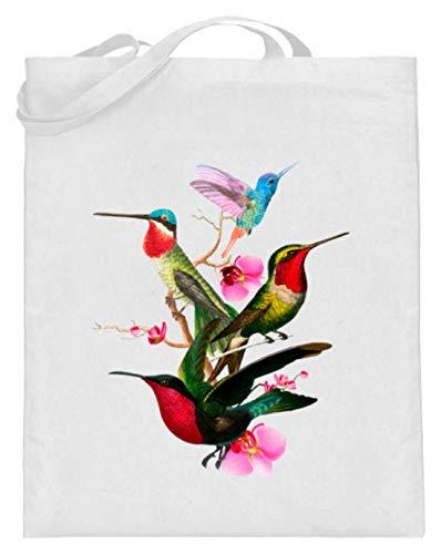 SwayShirt Kolibri Vogel Liebhaber Tropische Vögel Beobachter Farbenfroh Frühlings Geschenk T-Shirt - Jutebeutel (mit langen Henkeln) -38cm-42cm-Weiß