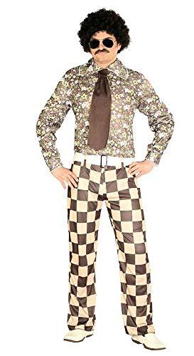 shoperama 60er 70er Jahre Retro Herren Disco Kostüm kariert Bad Taste Hemd Hose Krawatte Dancefloor Schlagermove Festival Blumen, Größe:M