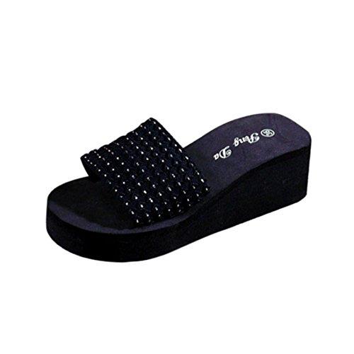 Transer ® Femmes été chausson intérieur extérieur sandales tongs Noir