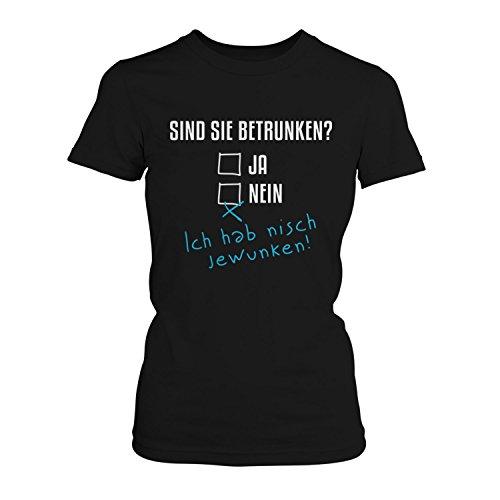 Fashionalarm Damen T-Shirt - Sind Sie betrunken   Fun Shirt mit lustigem Spruch zur Vatertag Herrentag Christi Himmelfahrt Party Alkoholtest Bier Schwarz