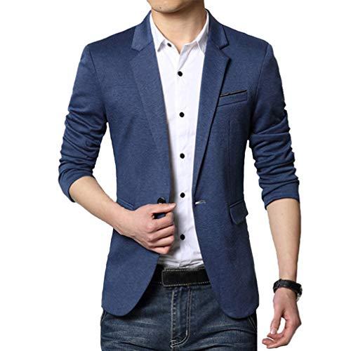 Guiran Hombres Blazer Informal Business Casual Chaquetas De Traje Y Americanas Slim Fit Azul S
