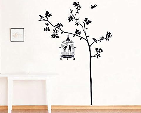 ufengke® Arbres Noirs Oiseaux et Cage à Oiseaux Stickers Muraux, Salle de Séjour Chambre à Coucher Autocollants Amovibles