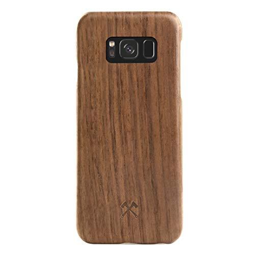 Woodcessories - EcoCase Slim Case - Premium Design Hülle, Cover, Backcover für Das Samsung Galaxy aus echtem Holz (Samsung Galaxy S8, Walnuss) (Walnuss)