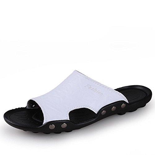 Chinelos Artesanais Mens Moda Chinelo brancas Couro Sandálias Vintage E Da Confortáveis qgHAwt