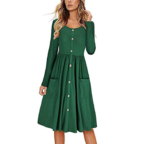 Bluelucon Damen Lange Ärmel Kleid Einfarbig Einfach Freizeit Lose Lange Tunika Plaid Shirt Kleid Taste runter MidiKleid Elegante 50er Retro Rockabilly Kleid (Plaid-luxus-kleid-shirt)
