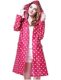 e4d45fcdc41460 Damen Regenmantel mit Kapuze umweltfreundlich Wasserdichtes Polyester Dots  Punkte Regenjacke Regenponcho Jacke