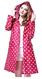 JameStyle26 Damen Regenmantel mit Kapuze umweltfreundlich wasserdichtes Polyester Dots Punkte Regenjacke Regenponcho Jacke (Pink)