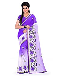 Aruna Sarees Chiffon Saree (Golden Purple_Purple)