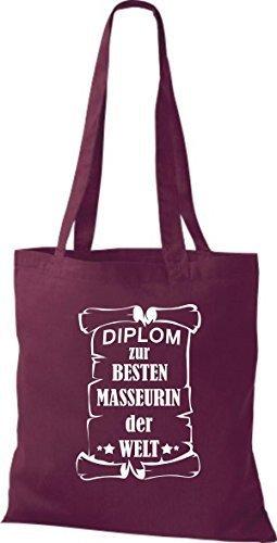 shirtstown Borsa di stoffa DIPLOM A MIGLIOR masseurin DEL MONDO Bordeaux