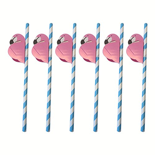 (CDKJ Einweg Trinkhalme Papier Strohhalme Flamingo Strohhalme Trinkhalme für Cocktail Hawaiian Luau Parties Dekorationen 25Pcs)