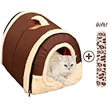 Cama/Caseta Perro Gato Interior 2 en 1, Casa Mascota Grande o Pequeño,
