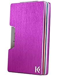 KARCAJ® Classic - Cartera Tarjetero Minimalista con Protección Antirrobo RFID y NFC. Tarjetero Metálico para Tarjetas de Crédito y Billetes para Hombre y Mujer