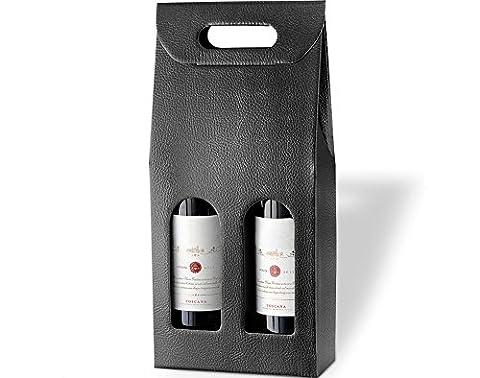 Black Wine Bottle Box for Crafts & Gifts - Holds 2 Bottles