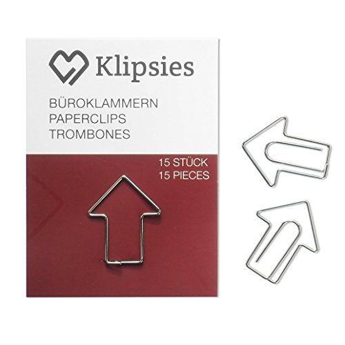 KLIPSIES Pfeil (Design wählbar) 15 Deko Büroklammern Motiv Heftklammern 1x15 Stück Silber
