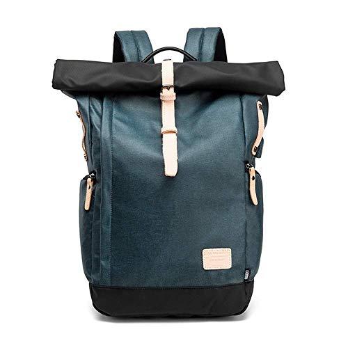 SHS Laptop Rucksack Damen Herren Roll Top Rucksack mit USB fur 15.6 Zoll Notebook Anti-Theft Tasche Daypack Mode Rucksack Frauen Wasserabweisend Schulrucksack Mädchen Teenager (Blau)