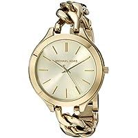 Michael Kors Slim Runway Women's Gold Dial Stainless Steel Band Watch - MK3222