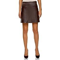 oodji Ultra Mujer Falda de Piel Sintética con Cremalleras Decorativas, Marrón, ES 36 / XS
