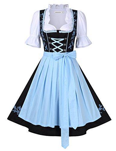 Clearlove Dirndl 3 TLG.Damen Midi Trachtenkleid für Oktoberfest,Spitzen Kleid&Bluse&Schürze, Blau,Rot (38, Hellblau)