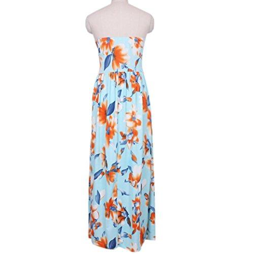 Femmes Robe Longue, OverDose Sans Bretelles éPaule Off Imprimer Floral Robe Longue Plage Robe Multicolore