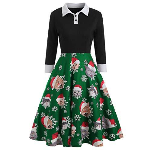 Frauen Elegant Weihnachten Patchwork Umlegekragen Kleider Damen Jahrgang Katze Rentier Gedruckt Langarm Partykleid