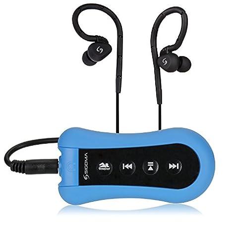 Sigoma 8GB Natation MP3 player avec haute qualité sonore des musique étanches (Blue)