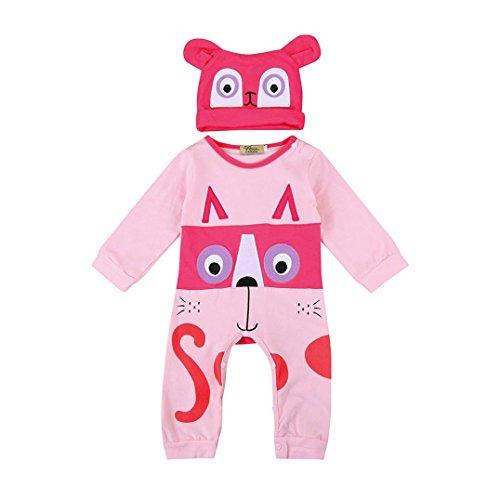BURFLY Kinderkleidung ♥♥Art und Weisekleinkind scherzt Tiermuster Gedruckte Klage + Hut 2 Sätze Klage (6--24 Monat) (80, Rosa) (Baumwollsamt Gedruckt)