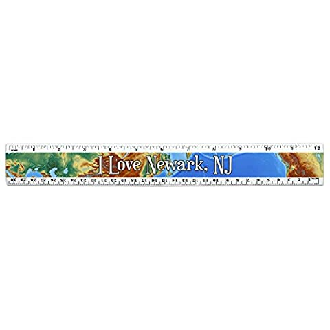 I Love Heart City State L-N 12 Inch Standard and Metric Plastic Ruler - Newark NJ