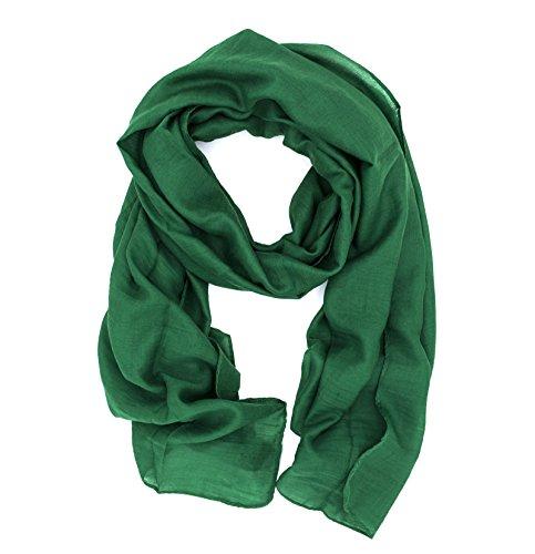 Dolce Abbraccio WILD CAT Damen Schal Halstuch Tuch aus Chiffon für Frühling Sommer Ganzjährig (Waldgrün)