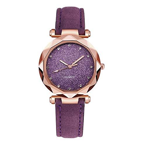 für Damen Crystal Dial Uhr mit Leder Uhrenarmband Mode Einfach Damenuhren Mehrfache Farben ()