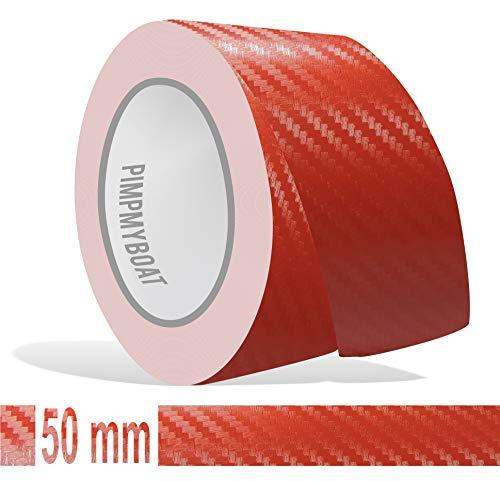 Siviwonder Zierstreifen rot Carbon in 50 mm Breite und 10 m Länge Folie für Auto Aufkleber Boot Jetski Modellbau Klebeband Dekorstreifen