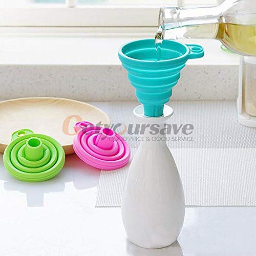 Kitchen Tool Set - Portable Silicone Gel Foldable Collapsible Style Funnel Hopper Cooking - Pink Colorful Wood Solid Toddlers Copper Tile Kitchen Tool Holder Anolon Racing Nylon Caddy Blue Patt Anolon Tools