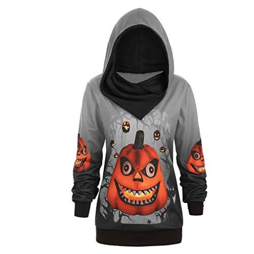 Kostüm Alpha Team - serliyHerren Kapuzenpullover Halloween Casual Sportjacke Kürbis Bedruckt Sweatshirt Kostüme Pulli Kapuzen-Sweatshirt mit Kängurutasche