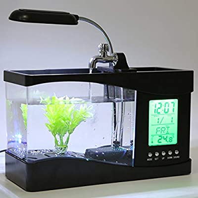 ZengBuks Neue USB Desktop Mini Aquarium Aquarium LCD Timer Clock LED Lampe Licht schwarz Worldwide Store - schwarz
