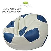 حقيبة بين كرة قدم جلدية من ريلاكسيت كينغ سايز - ازرق وابيض