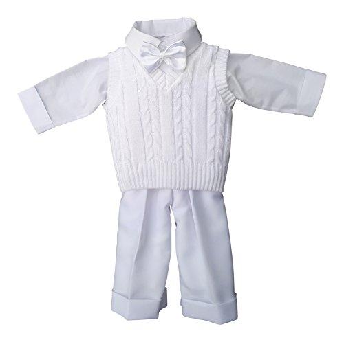 deine-Brautmode Taufanzug Festanzug Anzug Weste Hose Hemd Fliege Taufe Baby Set Adam Anzug,weiß, 74