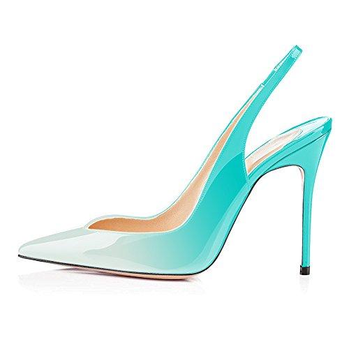 uBeauty Die Spitzen High Heels der Frauen Slingback Pumps Slingback Stiletto Pumps Knöchelriemchen Pumps 12CM Heel Sandalen Damen Hellgrün 39 EU
