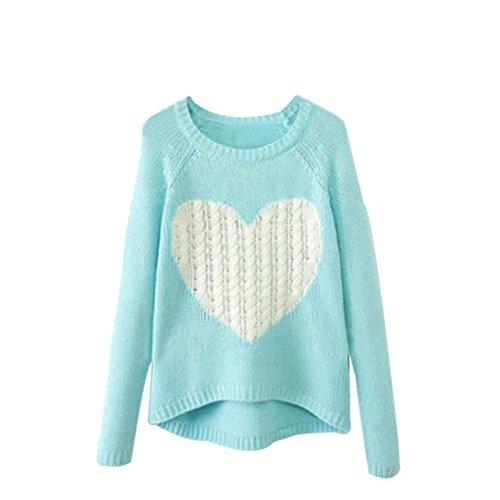 FAMILIZO O Las mujeres con cuello de manga larga suelta Cardigan suéter de punto Jumper Prendas de punto Outwear (XL, Cielo