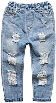 nobrand Pantaloni per Bambini Pantaloni Casual Casual in Denim con Foro Rotto per Bambini Adolescenti