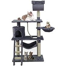 Árbol de gato rascarse Post Activity Center Cat Scratcher Juguete Castillo 141 cm (beige, gris)