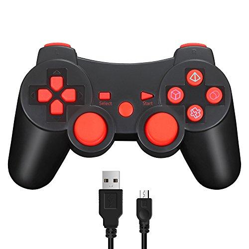 Vniqloo Controller Joystick Wireless Bluetooth per PS3 Giochi, Doppia Vibrazione Sixaxis Joypad Gamepad per Sony PS3 PlayStation 3 (Rosso)