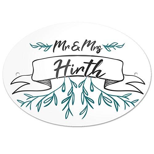 Eurofoto Türschild mit Nachnamen Hirth und Motiv - Mr & Mrs Hirth im Zeichenstil | für den Innenbereich | Klingelschild