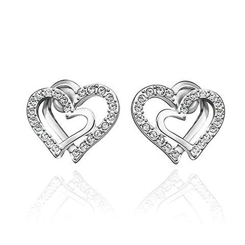 BeyDoDo Schmuck 18K Vergoldet Ohrringe Damen Ohrstecker mit Zirkonia Herz An Herz Kristall Ohrringe Silber