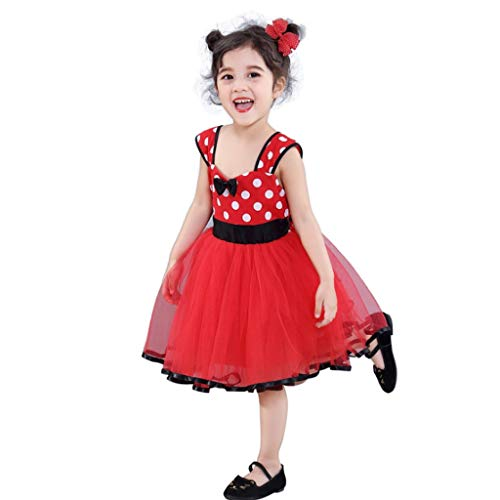 Mickey Mouse Kostüm Weibliche - HUO FEI NIAO Mädchen Kleider Mickey Mouse Wave Point Mesh Rock Pettiskirt Prinzessin Hochzeit (Color : Red, Size : S)