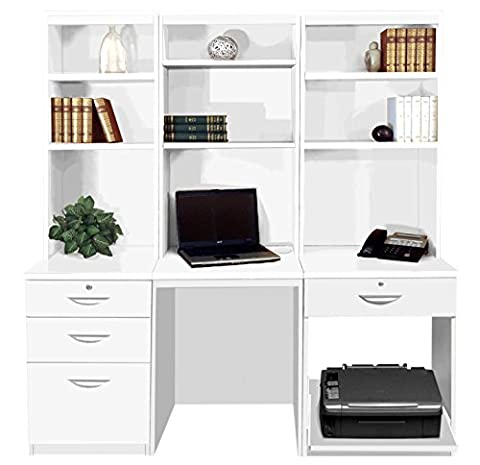 Home Office Furniture UK Computer Table Desk with Shelf HUTCH Bookcase Set, Wood, White, satin Profile,