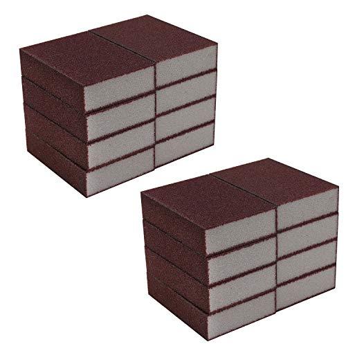 Schleifschwamm (16 Blöcke) - Schleifblock (10 x 6.9 x 2.5cm) - Nass und Trocken Schleifschwamm für Metall, Holz, Kunststoff und Dekorationen