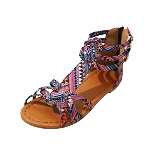 Ansenesna Sandalen Damen Sommer Flach Bunt Boho Vintage Schuhe Offen Reißverschluss Stoff Comfort Sommerschuhe (36, Lila)