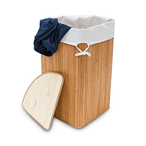 Relaxdays Eckwäschekorb Bambus HxBxT: ca. 65 x 49,5 x 37 cm faltbare Wäschetruhe eckig mit einem Volumen von 64 L mit Wäschesack aus Baumwolle zum Herausnehmen für Ecken und Nischen im Bad, natur