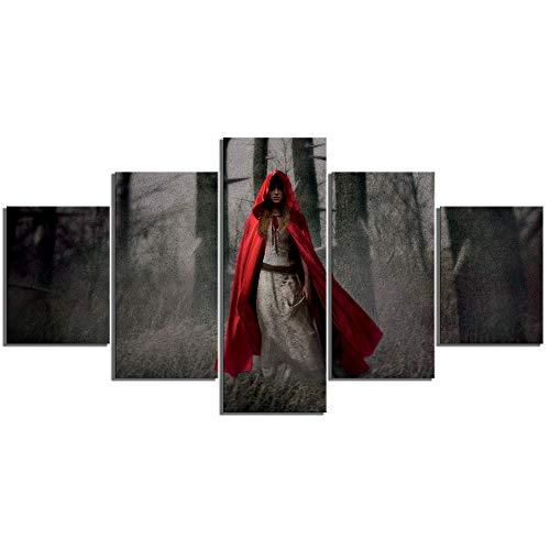 Amohart stampe su tela 5 pezzi arte astratta immagine hd cappuccetto rosso donne perdute nella foresta poster decorazioni per la casa arte murale dipinti su tela telaio